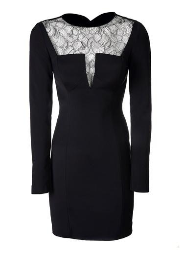 Love'n Fashion Paris Uzun Kollu Kalem Elbise Siyah
